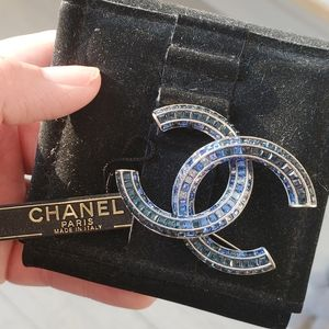 Chanel Blue Ombre Crystal Brooch